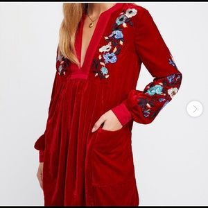 Free People Red Velvet Tunic! Size L